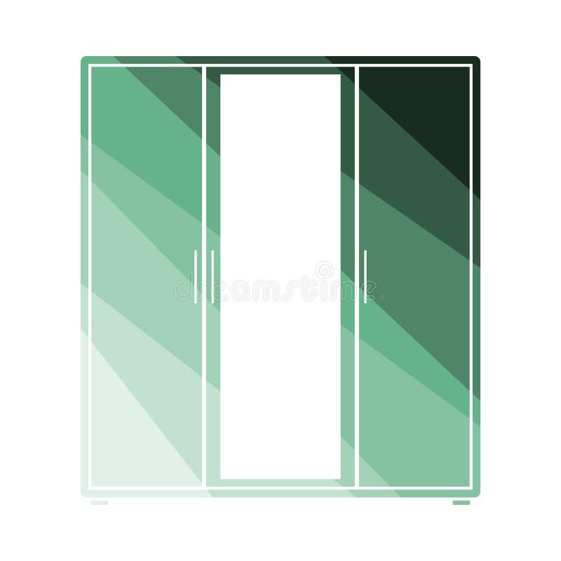Guardaroba con l'icona dello specchio illustrazione di stock
