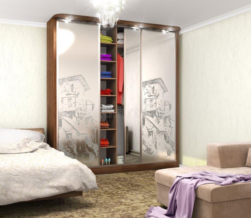 Guardaroba con la decorazione sugli specchi nella stanza illustrazione vettoriale