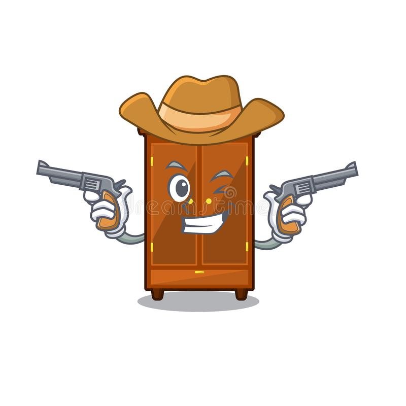Guardaroba del cowboy nella camera da letto della mascotte di a illustrazione vettoriale