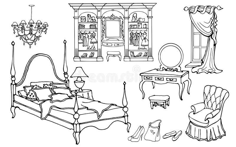 Guardaroba 80 50 del letto royalty illustrazione gratis