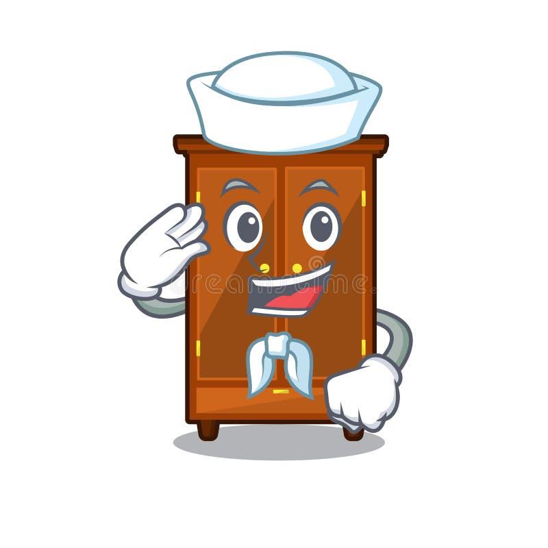 Guardaroba del marinaio nella camera da letto della mascotte di a illustrazione vettoriale