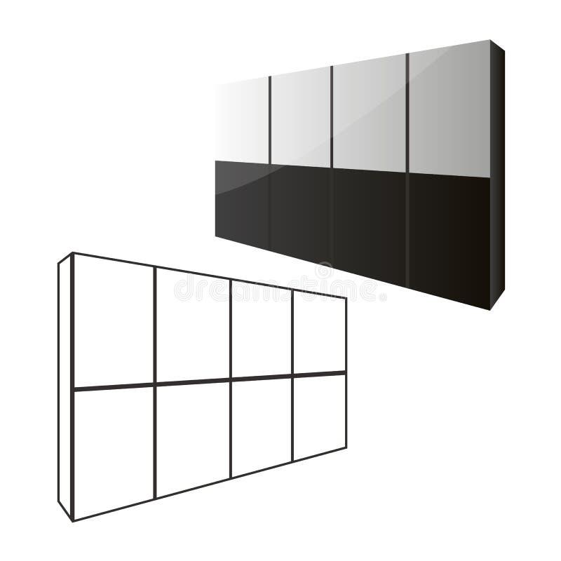 Guardaroba del portello scorrevole o spogliatoio, spogliatoi, negozio con una struttura di legno in grafica vettoriale illustrazione di stock