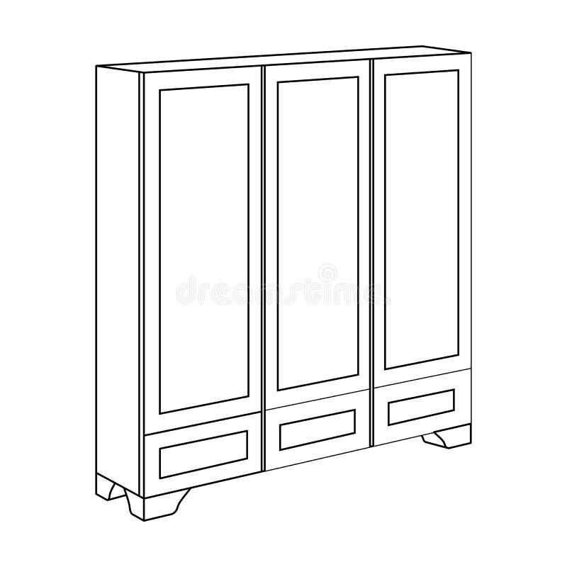 Guardaroba della camera da letto per abbigliamento Mobilia della camera da letto per i vestiti Icona della mobilia della camera d illustrazione di stock