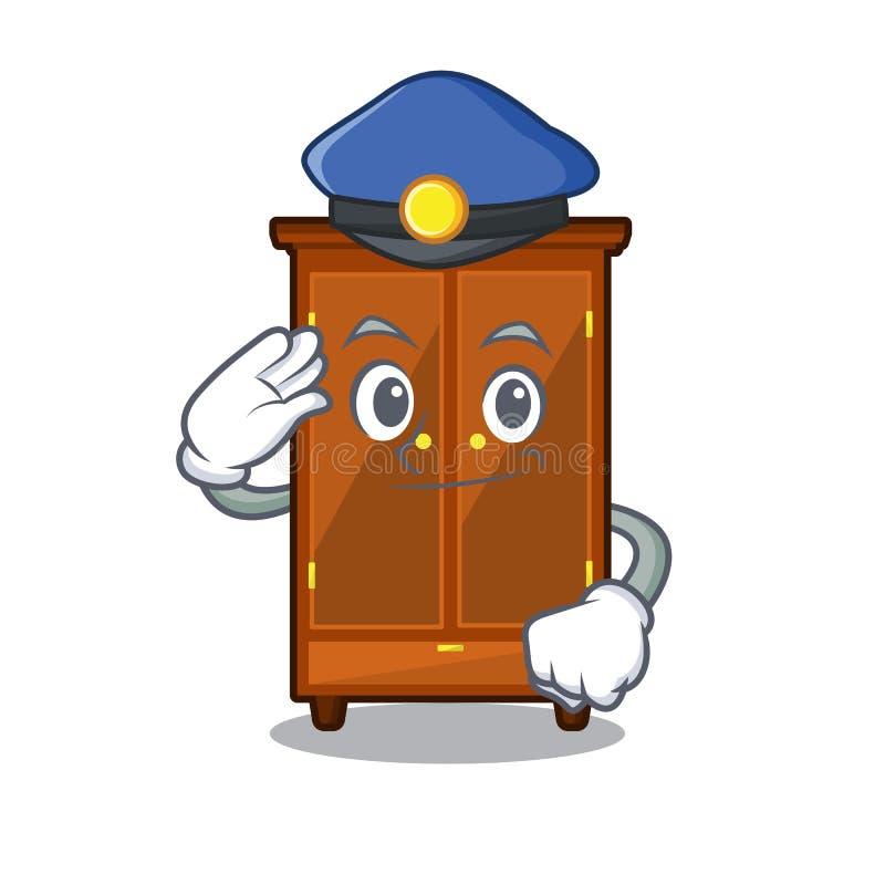 Guardaroba della polizia nella camera da letto della mascotte di a illustrazione di stock
