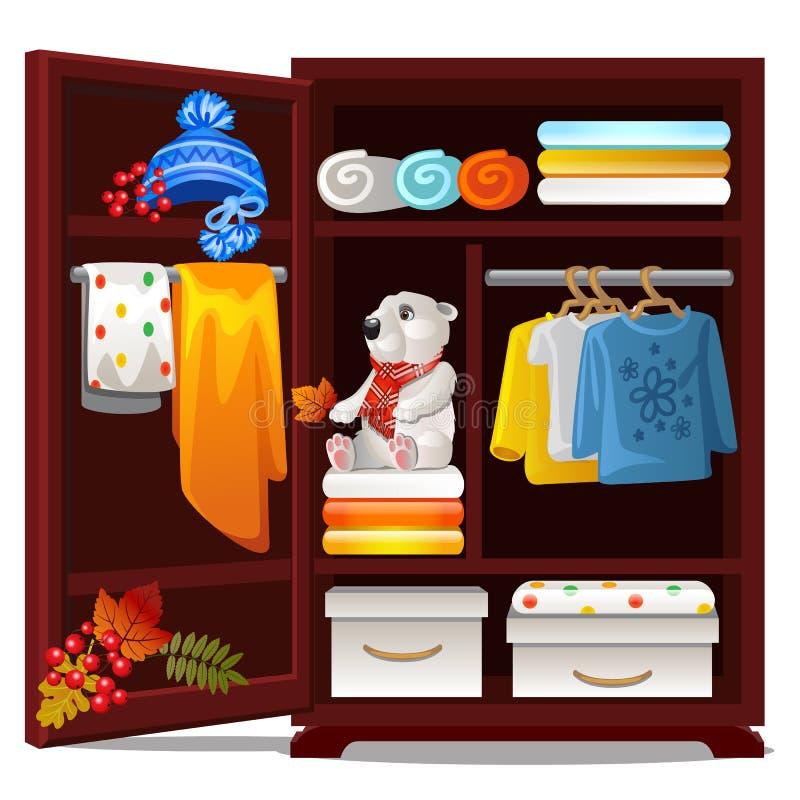Guardaroba di legno con gli oggetti sul tema di autunno isolati su fondo bianco Abbigliamento caldo di autunno della lana, cappel illustrazione di stock
