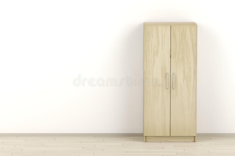 Guardaroba di legno nella stanza illustrazione di stock
