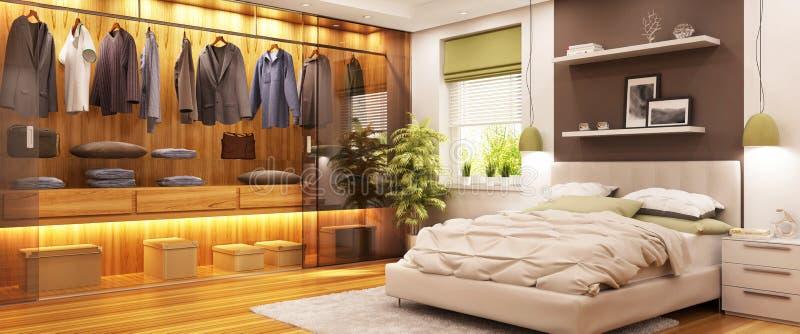 Guardaroba moderno in camera da letto moderna illustrazione di stock