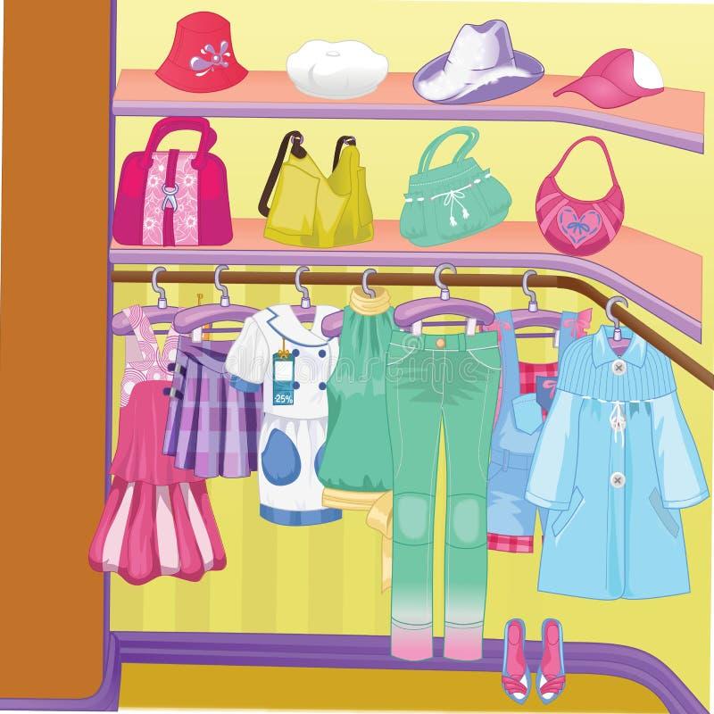 Guardaroba per i panni Gabinetto con i vestiti, le borse, le scatole e le scarpe Tempo di acquisto illustrazione vettoriale