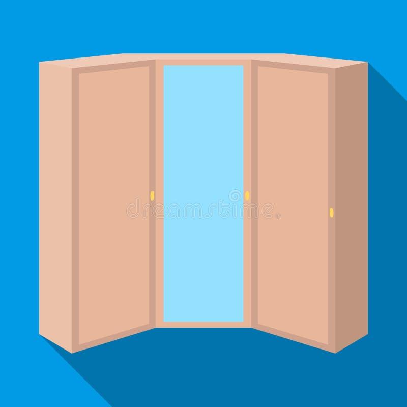 Guardaroba rosa con due porte e uno specchio Guardaroba della camera da letto Icona della mobilia della camera da letto singola n royalty illustrazione gratis