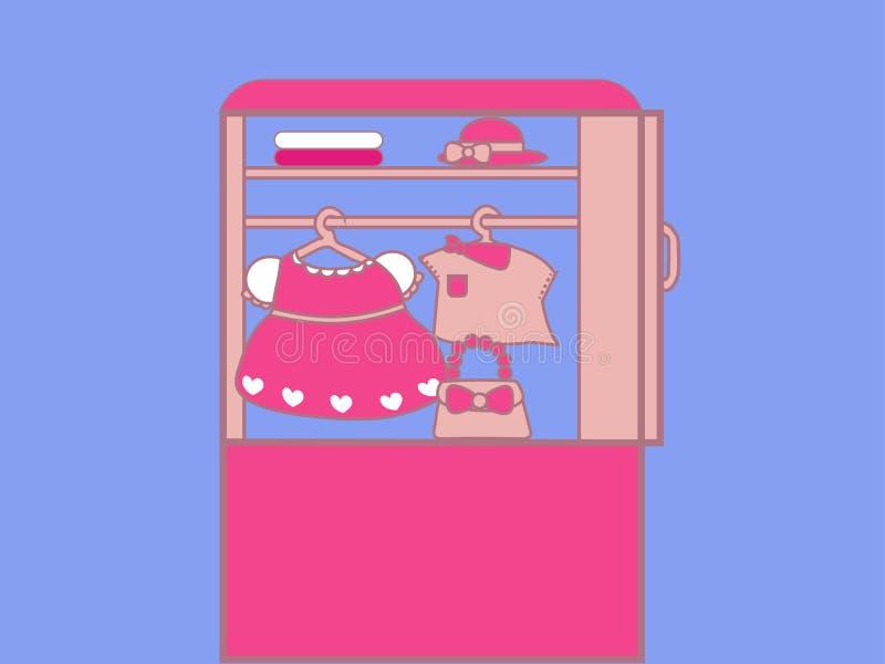 Guardaroba rosa con i vestiti per le ragazze royalty illustrazione gratis