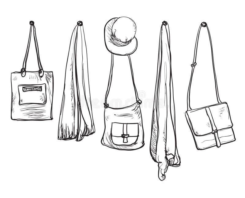 Guardaroba schizzato Vestiti disegnati a mano illustrazione vettoriale