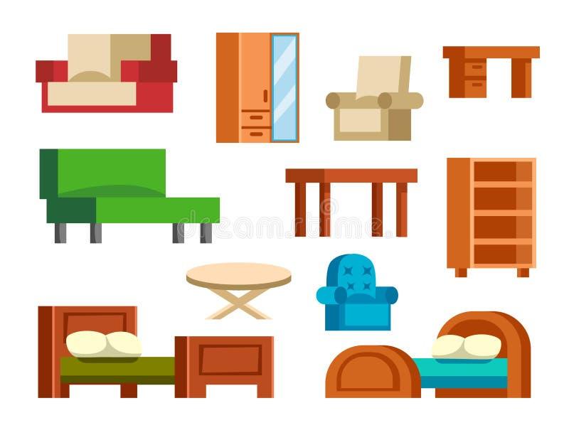 Guardaroba stabilito vivente della casa dell'aula magna comoda semplice dell'interno della mobilia isolato illustrazione di vetto illustrazione vettoriale