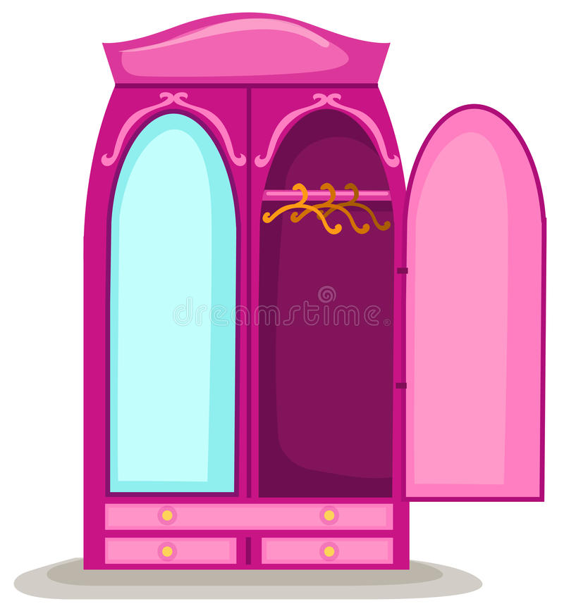 Guardarropa abierto con el espejo libre illustration