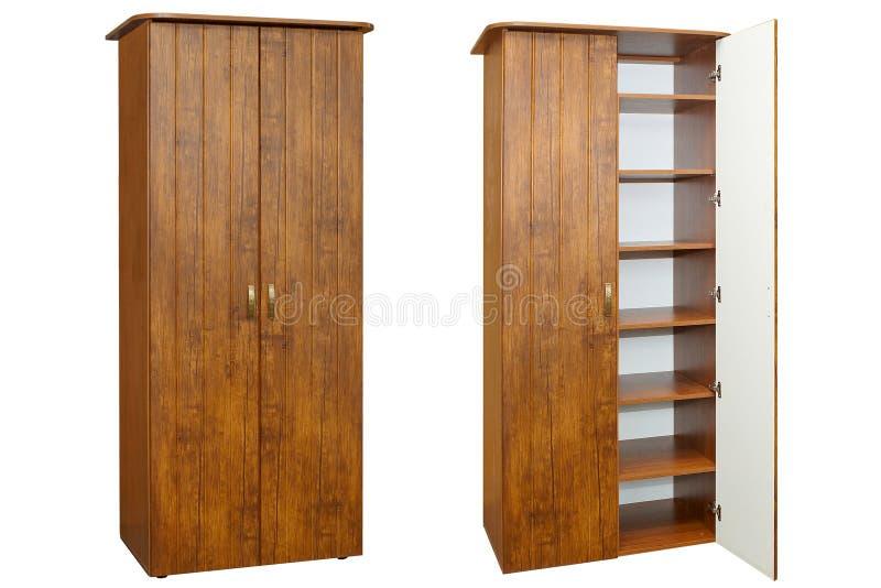 Guardarropa de madera en un blanco fotos de archivo libres de regalías