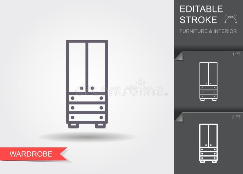 guardarropa L?nea icono con el movimiento editable con la sombra libre illustration