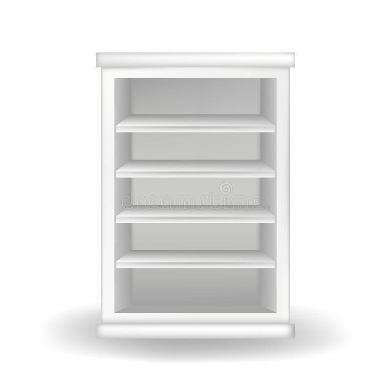 Guardarropa o estante para libros blanco Ejemplo realista del vector con la sombra en el fondo blanco Muebles modernos stock de ilustración