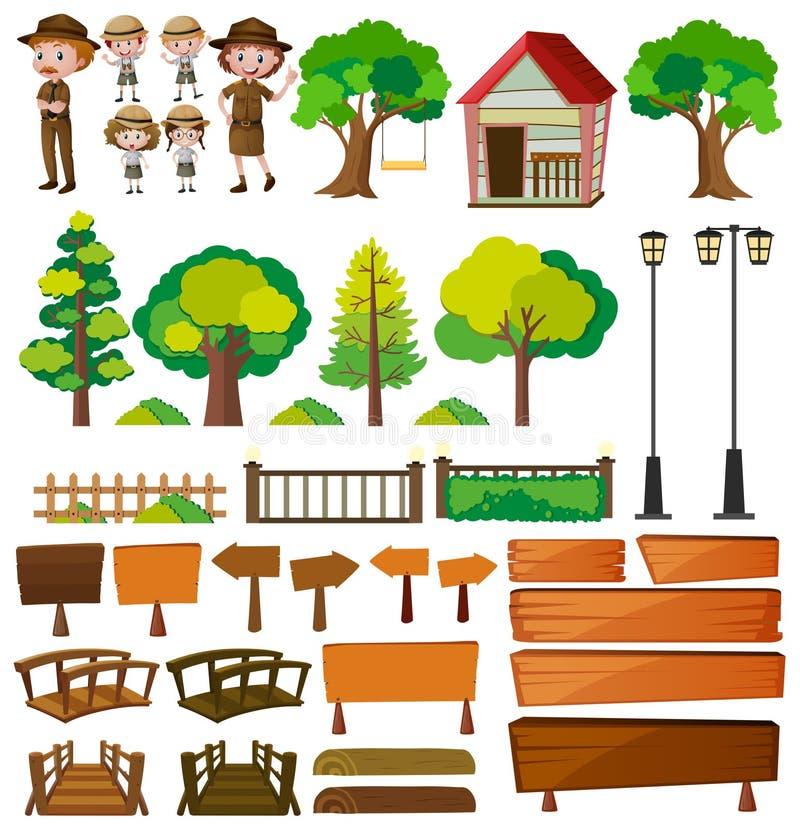 Guardas florestais de parque e produtos da árvore ilustração stock