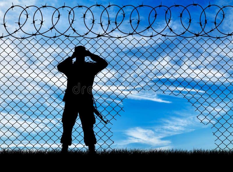 Guardas fronteiriças da silhueta imagens de stock royalty free