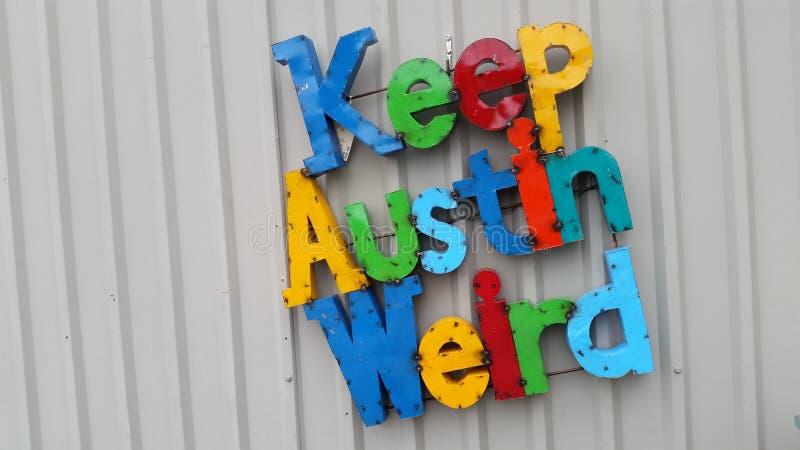 Guarde a Austin Weird Colorful Letters Central Texas Slogan fotos de archivo libres de regalías