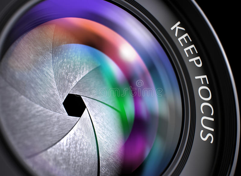 Guarde el concepto del foco en la lente profesional de la foto ilustración 3D foto de archivo libre de regalías