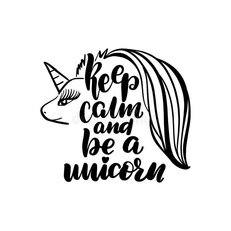 Guarde la calma y ser un unicornio libre illustration