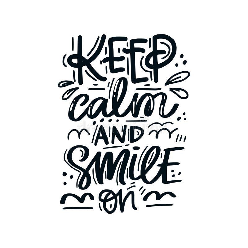 Guarde la calma y sonría stock de ilustración