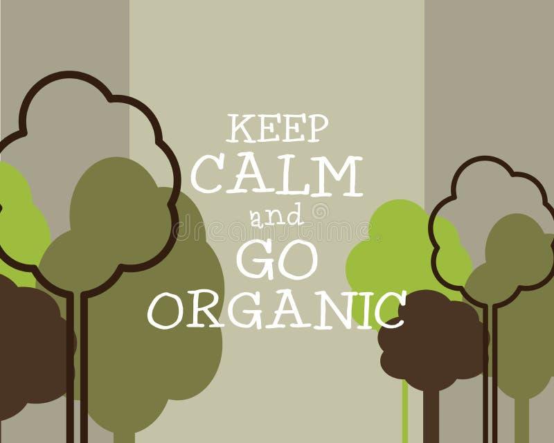 Guarde la calma y vaya concepto orgánico del cartel de Eco stock de ilustración