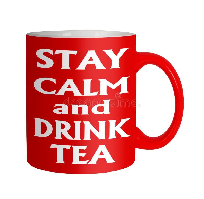 Guarde la taza roja del té tranquilo de la bebida en blanco imagen de archivo libre de regalías