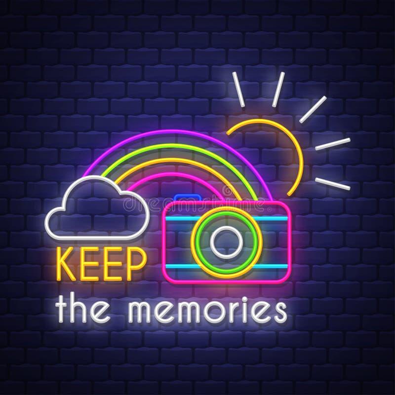 Guarde las memorias Letras de la señal de neón stock de ilustración