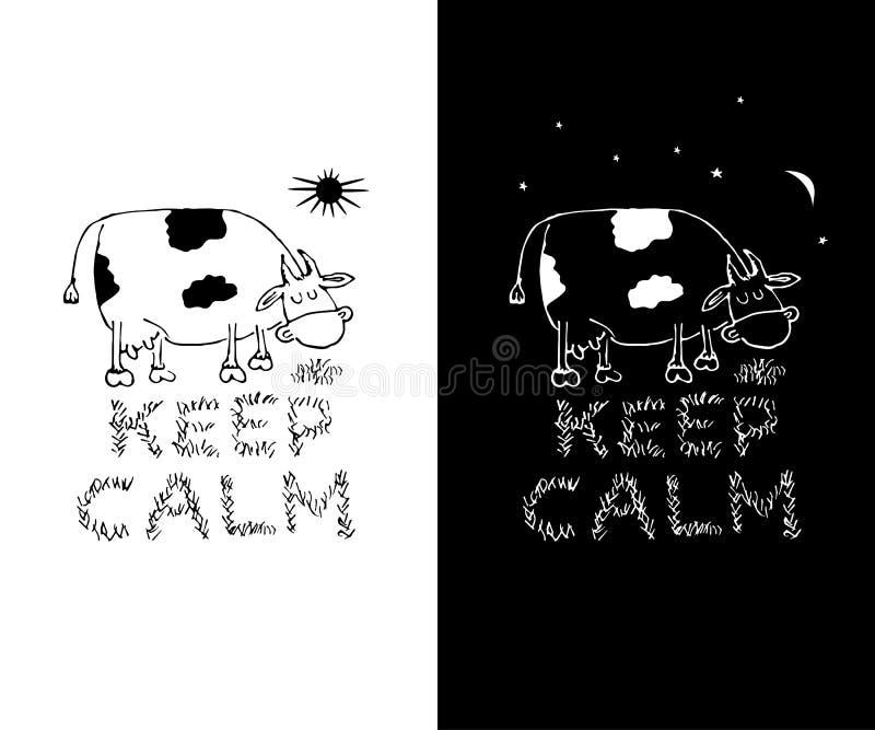 Guarde los diseños blancos y negros divertidos tranquilos de la impresión de la camiseta Plantilla de la impresión de la taza Ilu ilustración del vector