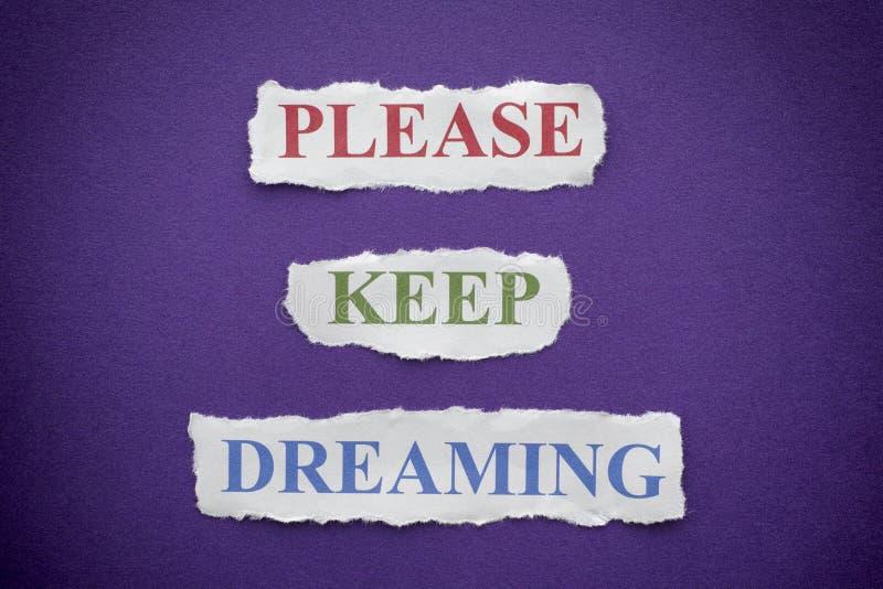 Guarde por favor el soñar fotos de archivo libres de regalías