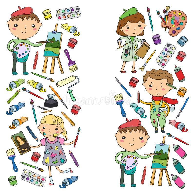 Guardería de la creatividad de los niños, muchachos del arte de la escuela y muchachas dibujando y pintando la escuela del arte y ilustración del vector