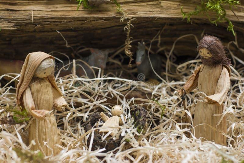 Guardería de la Navidad con Joseph Mary y Jesús fotografía de archivo libre de regalías