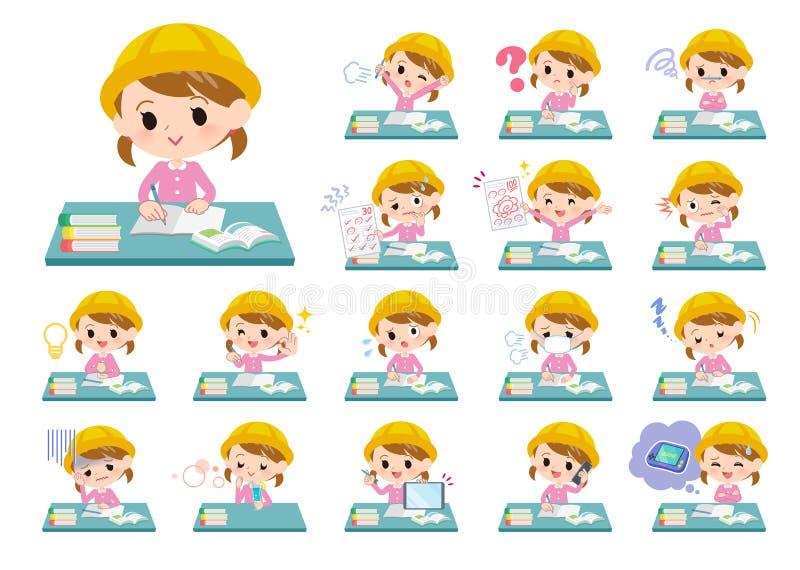Guardería girl_study stock de ilustración