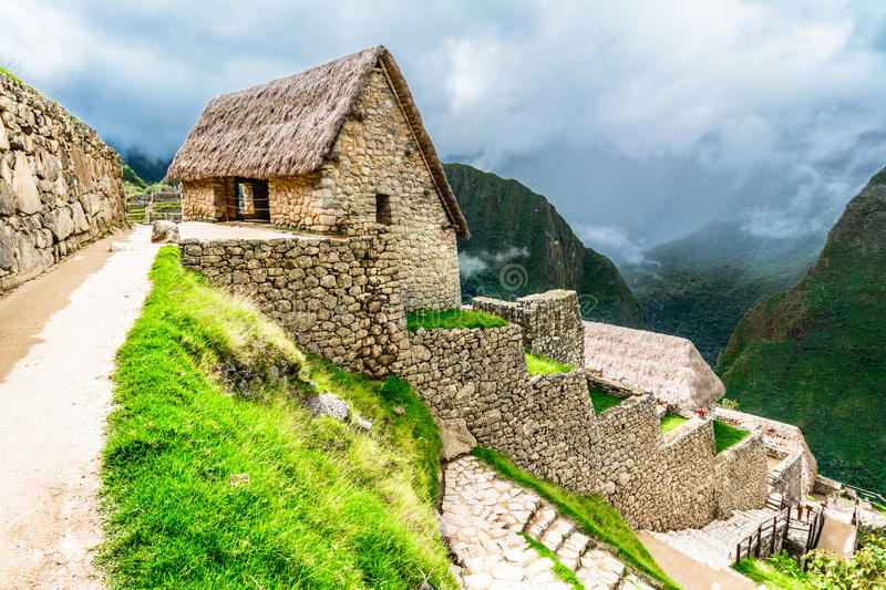 Guardhouses in Machu Picchu, Sacred Valley, Peru royalty free stock photos