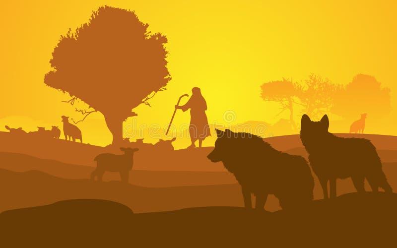 Guardião dos carneiros ilustração do vetor