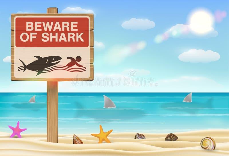 Guardi da del segno dello squalo su fondo bianco royalty illustrazione gratis