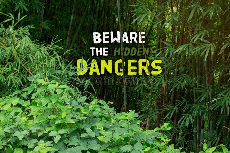 Guardi dai pericoli nascosti e dia il benvenuto a alla giungla Tha di cose immagine stock