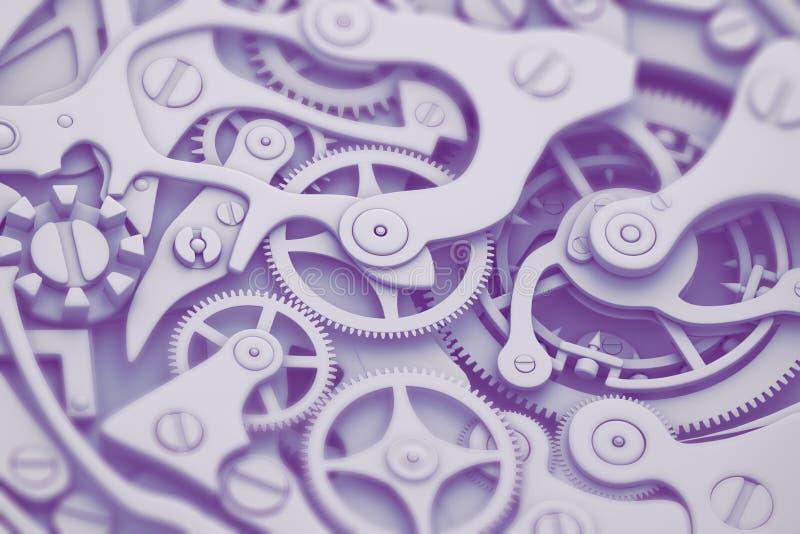 Guardi il meccanismo nell'illustrazione del tono 3D di modo con gli ingranaggi royalty illustrazione gratis