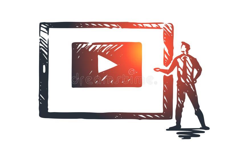 Guardi il nostro video, Internet, il gioco, i media, concetto di web Vettore isolato disegnato a mano illustrazione di stock