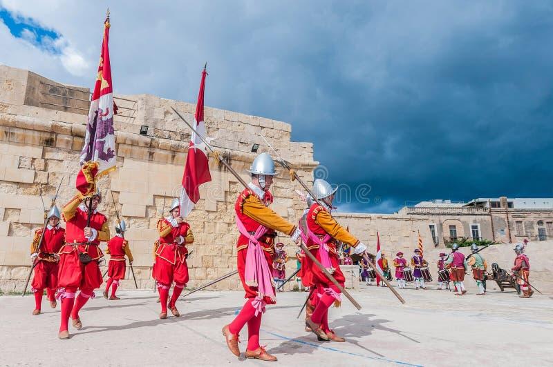 Guardia στην παρέλαση στο ST Jonh αλαζόνας σε Birgu, Μάλτα στοκ εικόνες με δικαίωμα ελεύθερης χρήσης