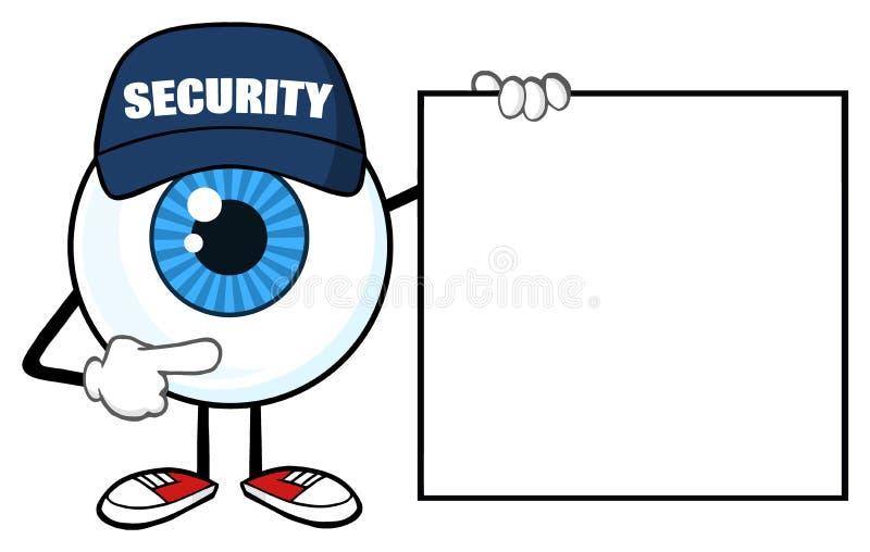 Guardia de seguridad azul del carácter de la mascota de la historieta del globo del ojo Pointing una bandera en blanco de la mues libre illustration
