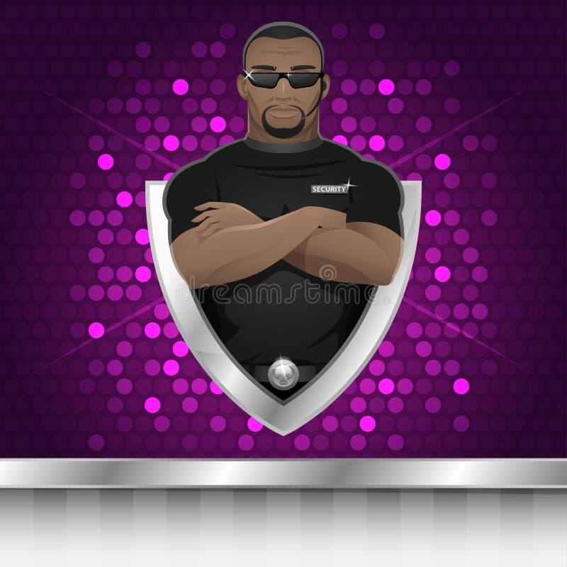 Guardia de seguridad del hombre negro del fondo del club nocturno libre illustration
