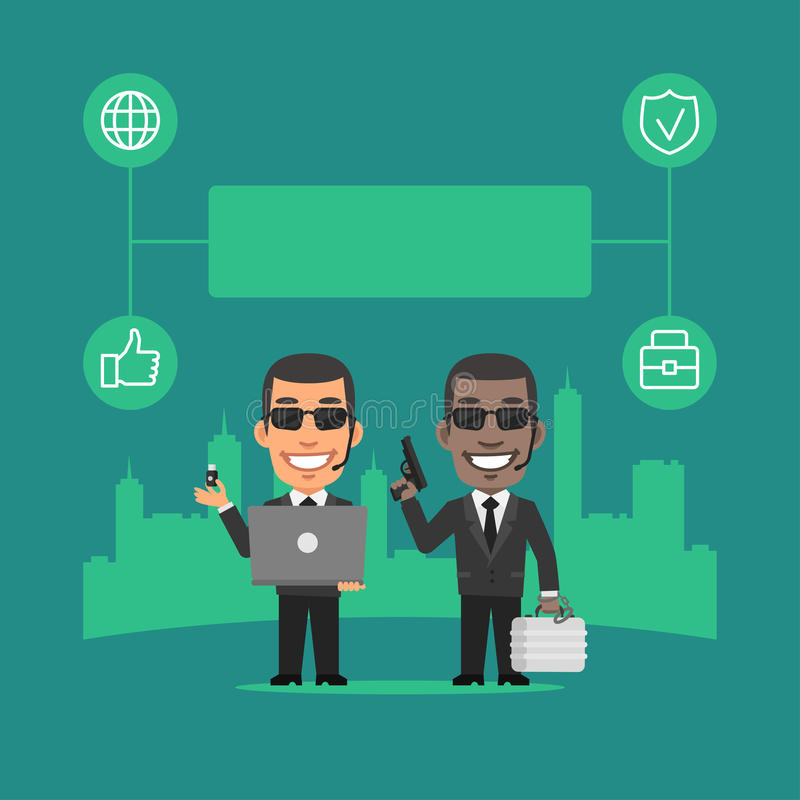 Guardia de seguridad Holding Gun y concepto del ordenador portátil stock de ilustración