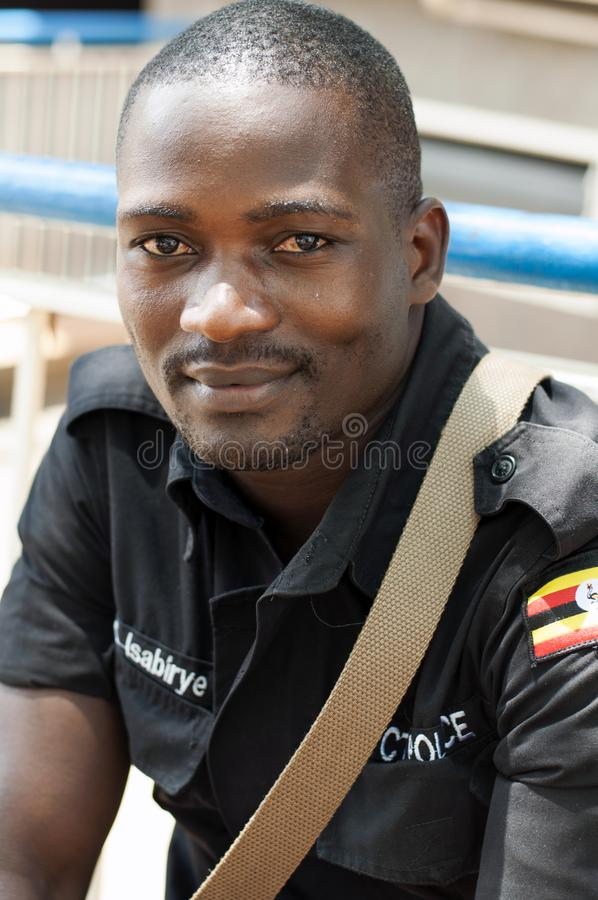 Guardia de seguridad masculino, Kampala, Uganda foto de archivo