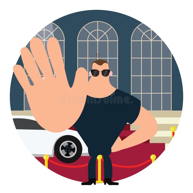 Guardia del cuerpo en muestra de la parada de la alfombra roja con el cuerpo grande de la mano ilustración del vector