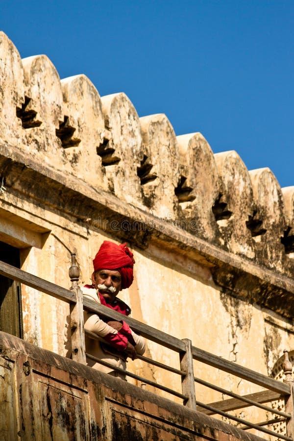 Guardia del fuerte de Amer, Jaipur, la India fotos de archivo