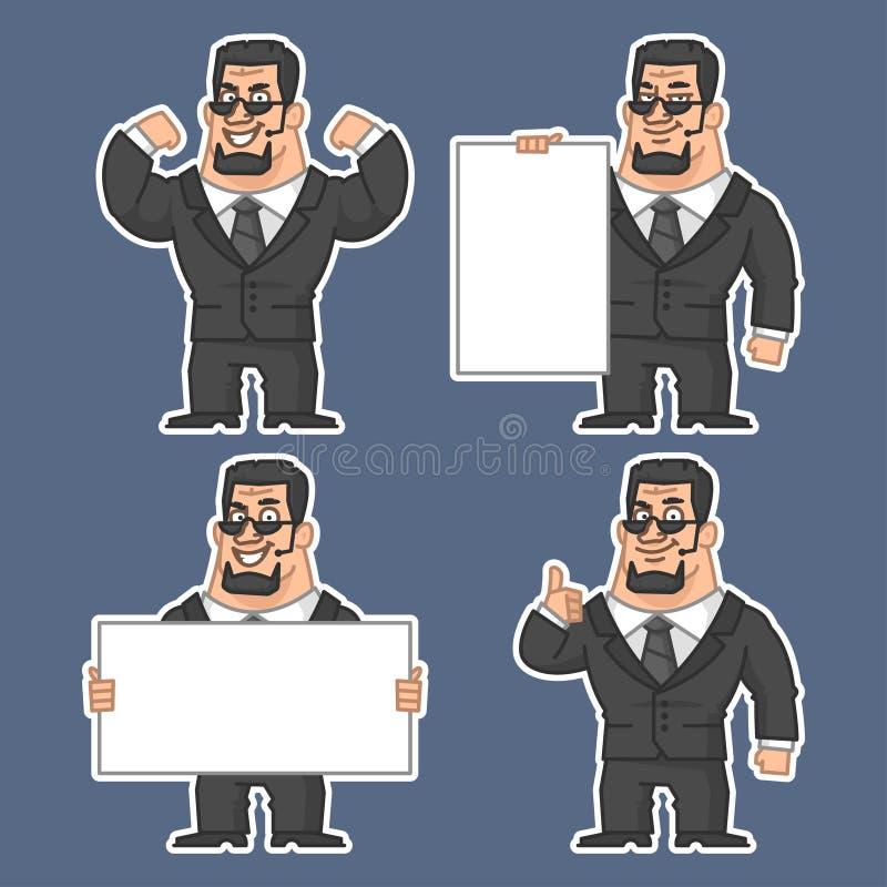 Guardia en las diversas etiquetas engomadas 1 de las actitudes stock de ilustración