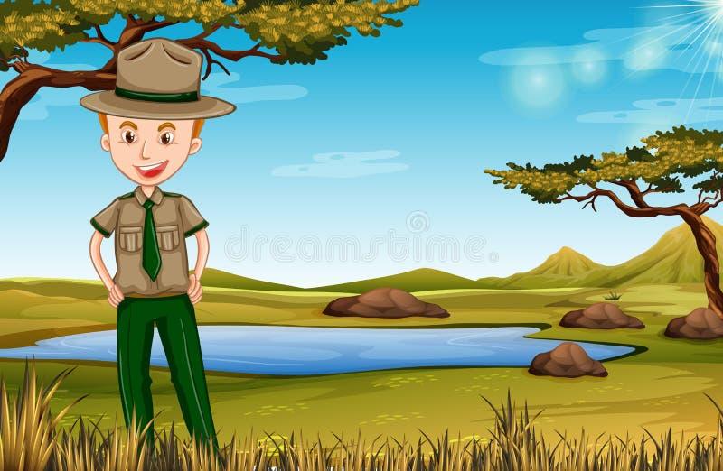 Guardia forestale di parco nella scena africana illustrazione vettoriale