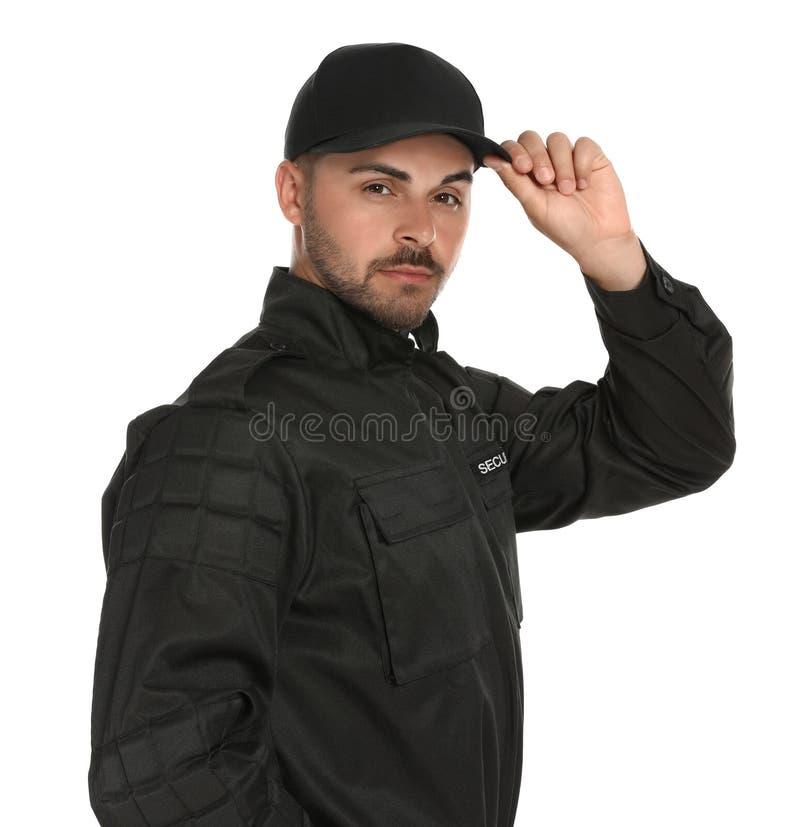 Guardia giurata maschio sul fondo bianco immagine stock